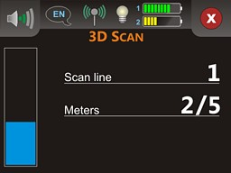 The operating mode '3D Scan', which is used to scan a whole area   for hidden objects like metals and caves.