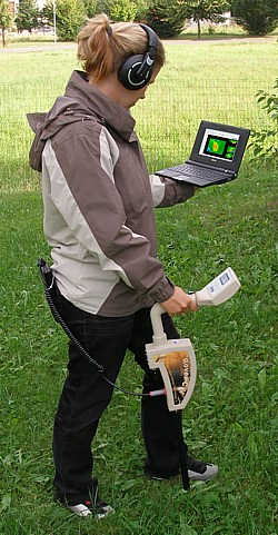 Metal detecting and treasure hunting with Rover C II, standard probe and free preconfigured  			mini laptop.